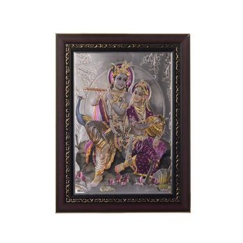 Radha Krishna Laminated Silver and Golden Foil