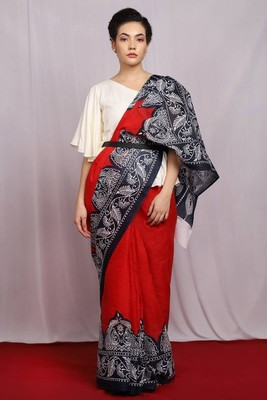 red hand woven Glorious Cotton Saree with blouse