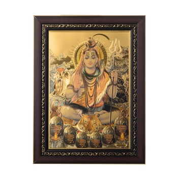 Lord Shiva Laminated Golden Foil