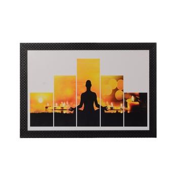 5 Cut Set of Man doing Yoga Satin Matt Texture UV Art Painting