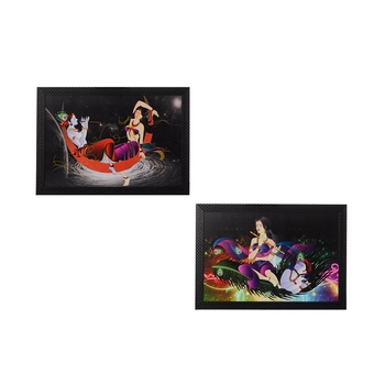 Set of 2 Radha Krishna Satin Matt Texture UV Art Painting