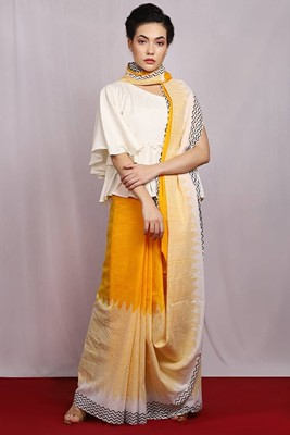 yellow hand woven Morning Saga Cotton Saree with blouse