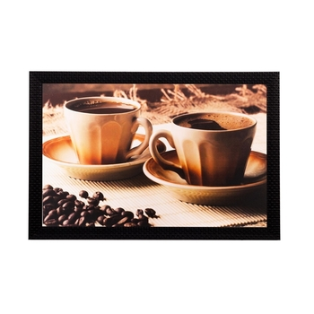 Spilled coffee beans and cups Matt Textured UV Art Painting