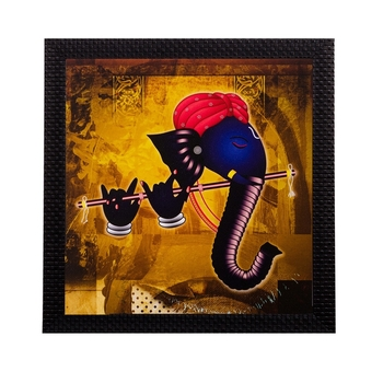 Lord Ganesha Playing Flute Matt Textured UV Art Painting