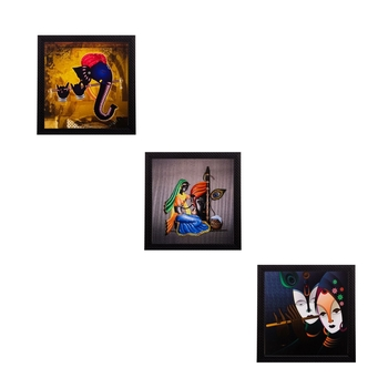 Set of 3 Spritual Matt Textured UV Art Painting