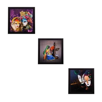 Set of 3 Radha Krishna Matt Textured UV Art Painting