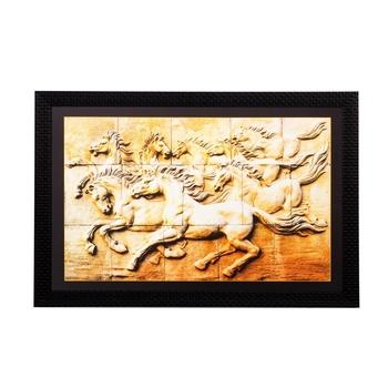 Abstract Running Horses Matt Textured UV Art Painting