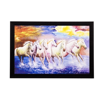Lucky White Running Horses Matt Textured UV Art Painting