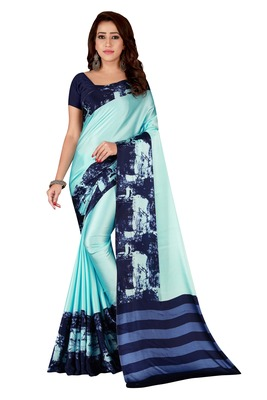 Multicolor plain crepe saree with blouse