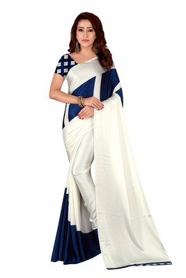 Multicolor plain crepe saree with blouse