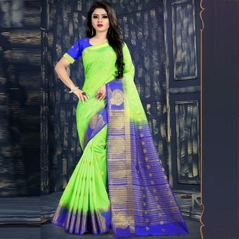 Light green woven tussar silk saree with blouse