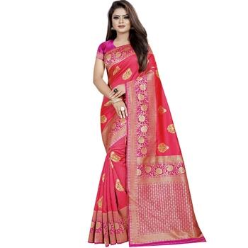 Dark peach woven art silk saree with blouse