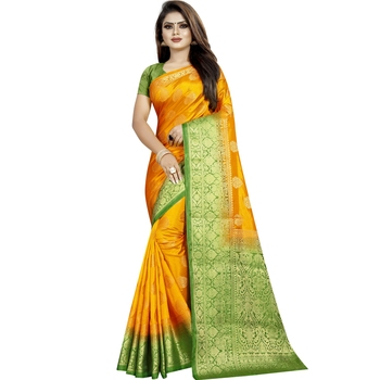 Yellow woven tussar silk saree with blouse