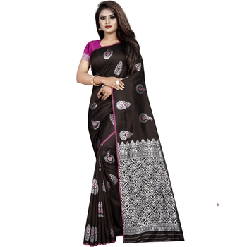 Coffee woven art silk saree with blouse