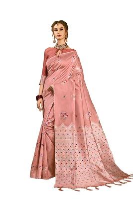 Nude woven art silk saree with blouse