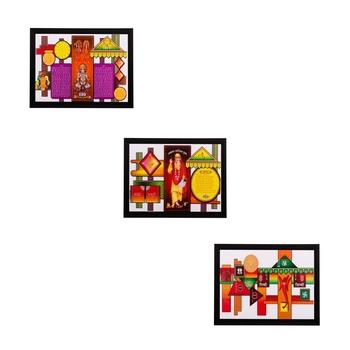 Set of 3 Religious Matt Textured UV Art Painting