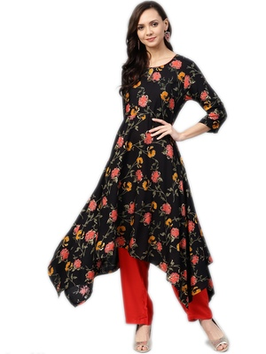 Black floral print rayon salwar