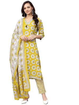 Yellow floral print cotton salwar