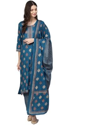 Blue printed rayon salwar
