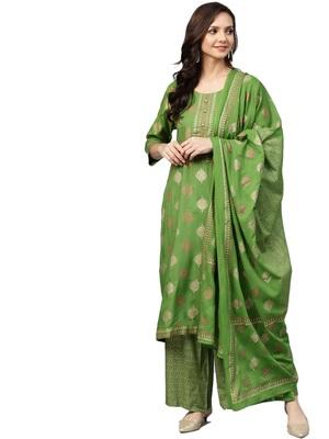 Green printed rayon salwar