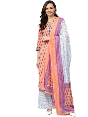 Peach printed cotton salwar