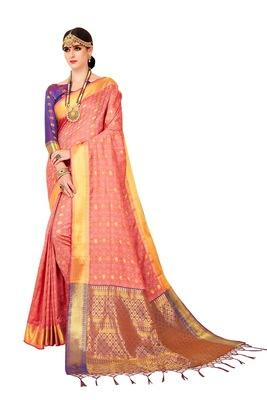 Rose woven art silk saree with blouse