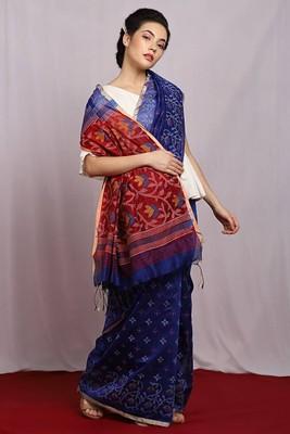 blue Dhakai Mystic Handloom Saree with blouse