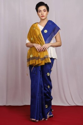 blue Embroidered Polished Poise Saree with blouse