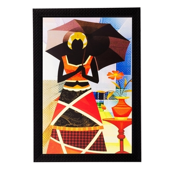 Abstract Lady with Umbrella Matt Textured UV Art Painting