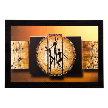 Abstract Tribal People Matt Textured UV Art Painting