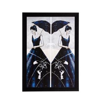 Woman Mirror Image View Matt Textured UV Art Painting