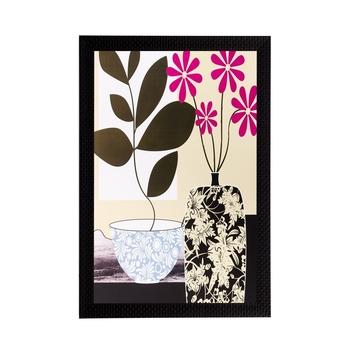 Botanical Black & Pink Flower Matt Textured UV Art Painting