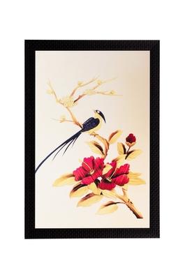 Bird & Flower Matt Textured UV Art Painting