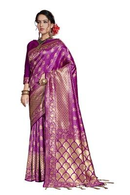 Purple woven art silk saree with blouse