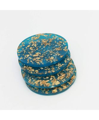 Blue Golden Flakes Wooden Coaster