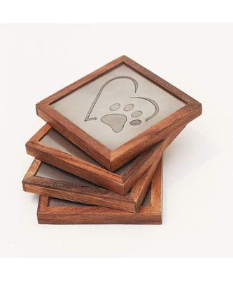 Heart Metal Wooden Coaster