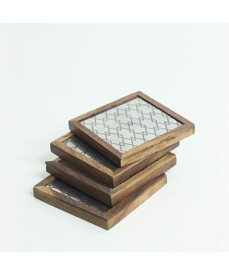 Metal Weave Wooden Coaster