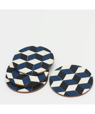 Vibrant Wave Resin Wooden Coaster