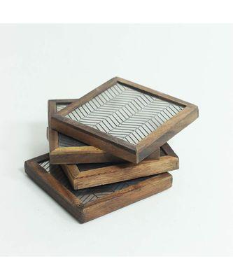 Metal Wave Wooden Coaster