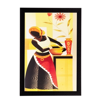 Woman with Pot Matt Textured UV Art Painting