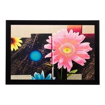 Blue & Pink Floral Matt Textured UV Art Painting