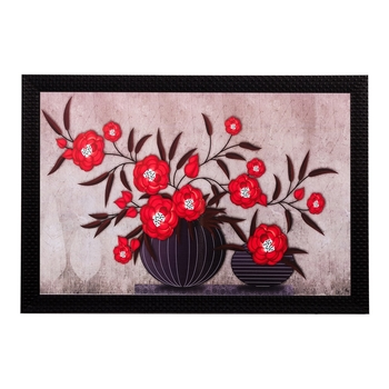 Red Floral Matt Textured UV Art Painting