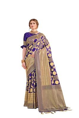 Voilet woven art silk saree with blouse