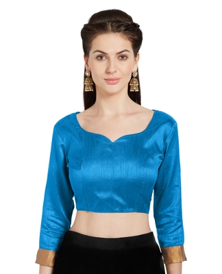Turquoise Art Silk Readymade Party Saree Blouse