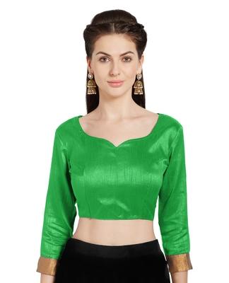 Leaf Green Art Silk Readymade Party Saree Blouse