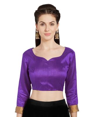 Purple Art Silk Readymade Party Saree Blouse
