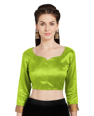 Parrot Green Art Silk Readymade Party Saree Blouse