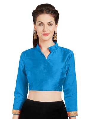 Turquoise Art Silk Readymade Partywear Saree Blouse
