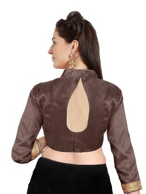 Brown Art Silk Readymade Partywear Saree Blouse