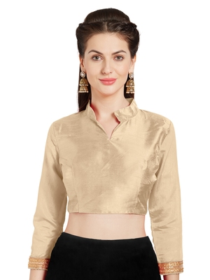 Beige Art Silk Readymade Partywear Saree Blouse
